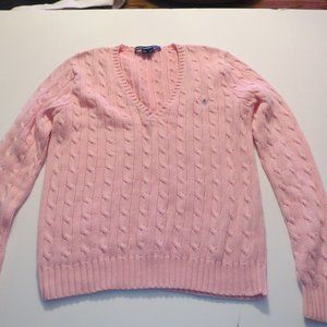 Ralph Lauren Pink Cable V Neck Sweater L